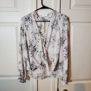 Black and White Floral Print Blouse